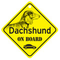 Dachshund On Board Mini Sign with Smooth Coat Doxie for your Car or Truck