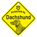 Protected By A Longhair Dachshund Mini Sign for your Home or Car