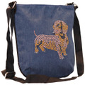 Luba - Blue Denim Mini Messenger Purse Tote Bag with Dachshund Rhinestone Stud Applique