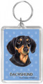Blue Pawprint Keychain Ring with Black-Tan Dachshund