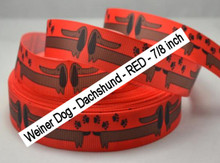 Red - 7/8 inch - Weiner Dog Dachshund Grosgrain Ribbon