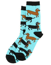Long To Be Light Blue Socks featuring Red and Black-Tan Weiner Dog Dachshund
