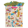 Large Gift Bag with Wiener Dog Dachshund Puppies Playing