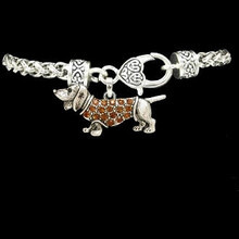 Antiqued Dachshund Heart Clasp Bracelet with Crystal Doxie Charm