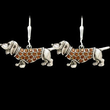 Antiqued Dachshund Earrings with Crystal Doxie Charm