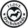 I Love Dachshunds Circle Heart Car Magnet