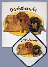 Sunny Dachshund Dish Towel and Potholder Set