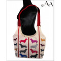 Size View: Cream Canvas Original Cross Body Applique Dachshund Purse Bag