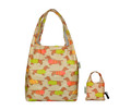 Front View:  Reusable Pouch Shopper Carrier Tote - Taupe Sausage Dachshund