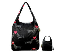 Front View:  Reusable Pouch Shopper Carrier Tote - I Love Dachshunds