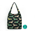 Front View:  Reusable Pouch Shopper Carrier Tote - Black Sausage Dachshunds