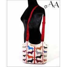 Size View: Cream Canvas Small Cross Body Applique Dachshund Purse Bag