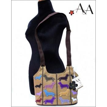 ae62572db Size View: Khaki Canvas Small Cross Body Applique Dachshund Purse Bag.  Loading zoom