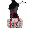 Size View: Cream Canvas Carrie Handbag Purse with Applique Dachshunds on Both Sides