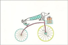 Bicycle Doxie Blank Dachshund Notecard - Single Card