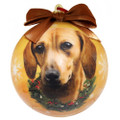 ES Shatterproof Round RED Dachshund Christmas Holiday Ornament