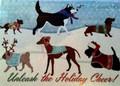 Unleash Holiday Cheer Dachshund N Friends Glitter Christmas Card - Box of 12