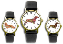 Custom Black Leather Band Dachshund Watch - Use Your Image or Ours