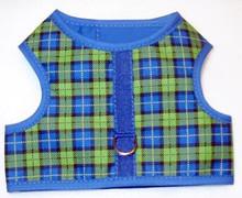 Mr. Wags Custom Dachshund Walking Harness Vest - Blue & Green Plaid