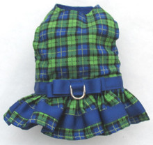 Mr. Wags Custom Dachshund Walking Harness DRESS - Blue & Green Plaid