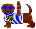Leather Luggage Bag Tag in First Class Cool Red Dachshund