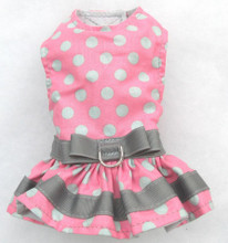 Mr. Wags Custom Dachshund Walking Harness DRESS - Pink w Gray Dots & Trim