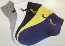 5 Pack Black-Tan Dachshund Ankle Socks - Gray, White, Black, Yellow, Navy