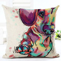 "Oil Painting Red Dachshund Throw Pillow Zipper Cover (17"" x 17"")"