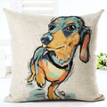 "Oil Painting Black-Tan Dachshund Throw Pillow Zipper Cover (17"" x 17"")"