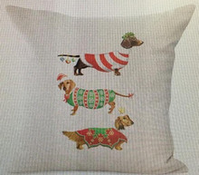 "Three Christmas Doxies Dachshund Throw Pillow Zipper Cover (17"" x 17"")"