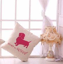 "Short and Sweet Pink Dachshund Throw Pillow Zipper Cover (17"" x 17"")"