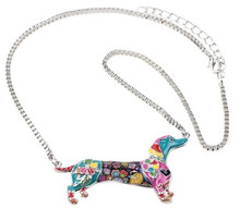 Colorful Bonsny Mosaic Style Dachshund Necklace