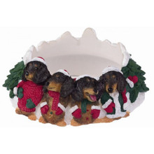 Four Merry Little BLACK TAN Dachshunds Christmas Holiday Candle Topper Ring