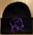 Knit Hat Cap Dachshund Embroidered Head BLACK w PURPLE