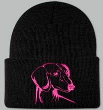 Knit Hat Cap Dachshund Embroidered Head BLACK w PINK