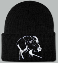 Knit Hat Cap Dachshund Embroidered Head BLACK w WHITE