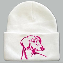 Knit Hat Cap Dachshund Embroidered Head WHITE with PINK