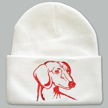 Knit Hat Cap Dachshund Embroidered Head WHITE with RED