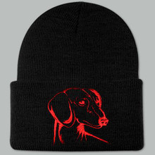 Knit Hat Cap Dachshund Embroidered Head BLACK w RED