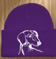 Knit Hat Cap Dachshund Embroidered Head PURPLE with WHITE