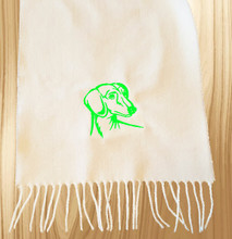 Knit Scarf Dachshund Embroidered Head WHITE with LIME GREEN