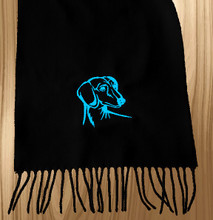 Knit Scarf Dachshund Embroidered Head BLACK with AQUA