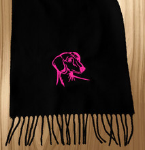 Knit Scarf Dachshund Embroidered Head BLACK with HOT PINK