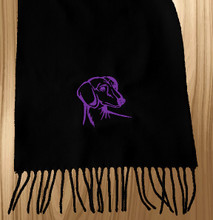Knit Scarf Dachshund Embroidered Head BLACK with PURPLE