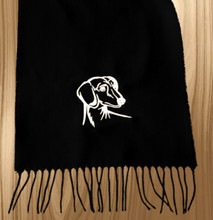 Knit Scarf Dachshund Embroidered Head BLACK with WHITE
