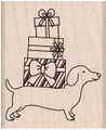 Dachshund Christmas Holiday Rubber Stamp