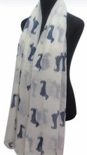 WHITE w NAVY Viscose Cotton Dachshund Print Scarf, Shawl, Wrap, Couch Chair Accent or Table Runner