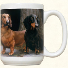 Double Dachshund Coffee Cup Mug - Smooth Black Tan and Red Doxie