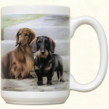 Double Dachshund Coffee Cup Mug - Longhair Red and Wirehair Doxie