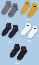 Black-Tan Dachshund Ankle Socks - Gray, White, Black, Yellow, Navy